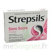 STREPSILS FRAISE SANS SUCRE, pastille édulcorée à l'isomalt, au maltitol et à la saccharine sodique à Saint-Cyprien