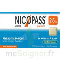 NICOPASS MENTHE FRAICHEUR 2,5 mg SANS SUCRE, pastille édulcorée à l'aspartam et à l'acésulfame potassique à Saint-Cyprien