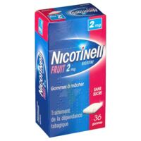 NICOTINELL FRUIT 2 mg SANS SUCRE, gomme à mâcher médicamenteuse Plaq/36gom à Saint-Cyprien